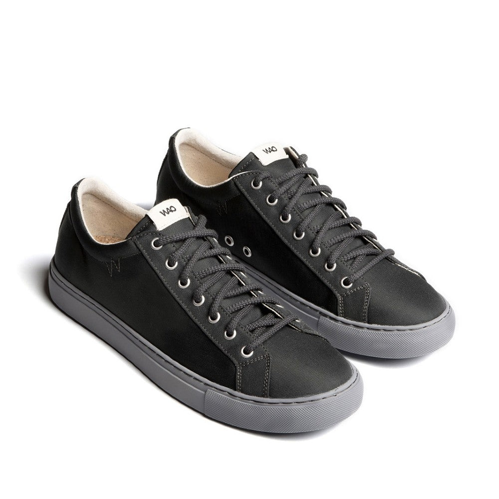 WAO shoes Low Top Nylong color Graphite and Grey made with ECONYLu00ae regenerated nylon