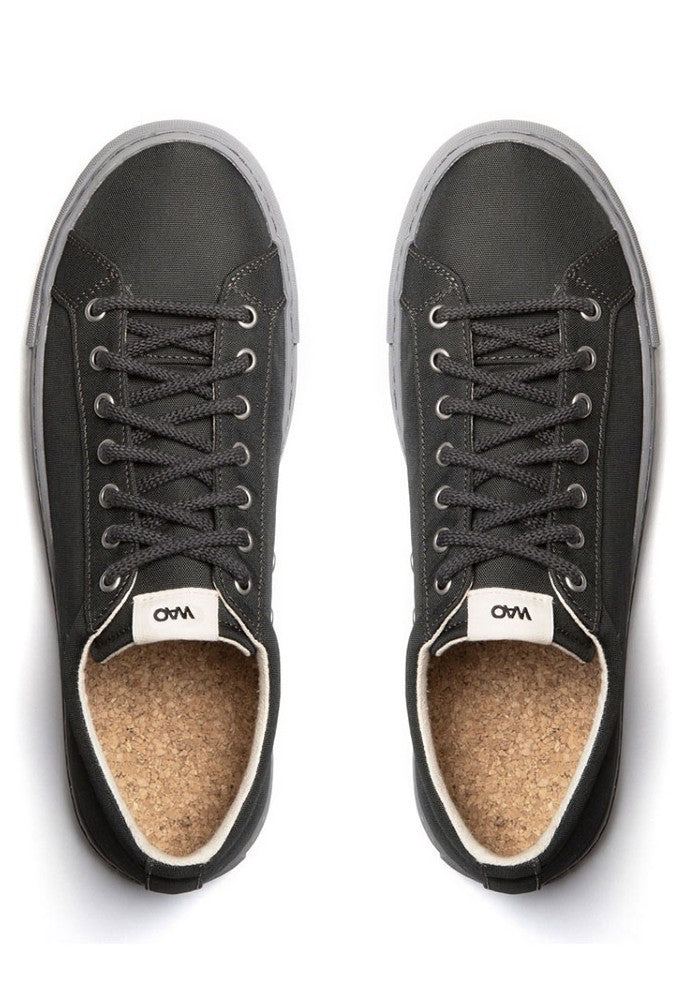 View from top of the WAO shoes Low Top Nylong color Graphite and Grey made with ECONYLu00ae regenerated nylon