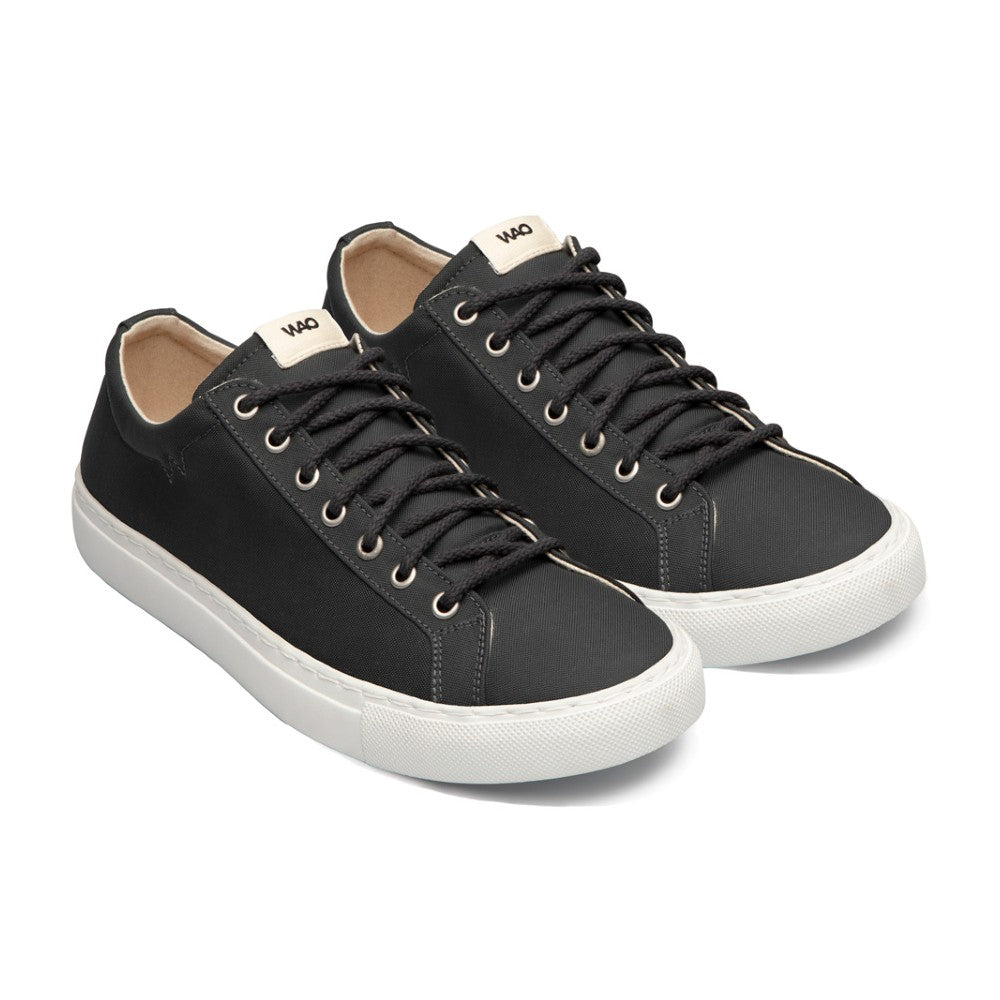 WAO shoes Low Top Nylong color Graphite and White made with ECONYLu00ae regenerated nylon