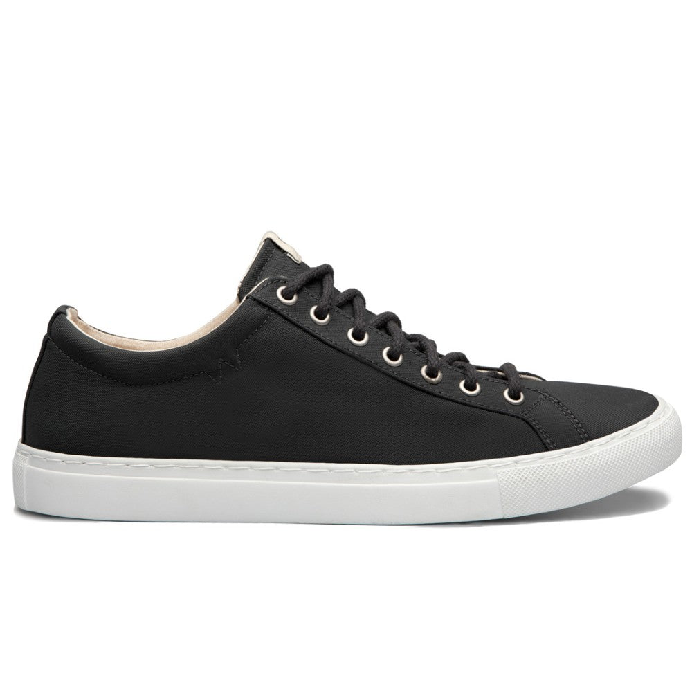 Side view of the WAO shoes Low Top Nylong color Graphite and White made with ECONYLu00ae regenerated nylon