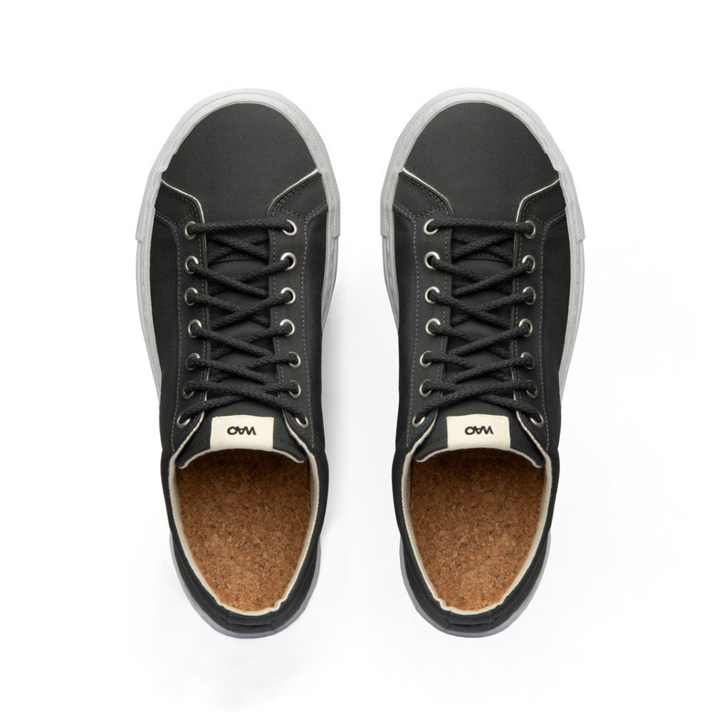 View from top of the WAO shoes Low Top Nylong color Graphite and White made with ECONYLu00ae regenerated nylon