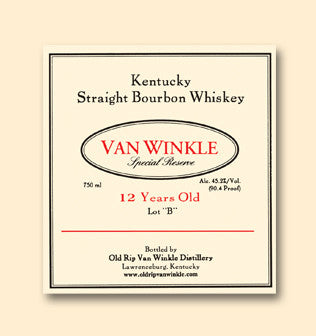 Old Rip Van Winkle 'Van Winkle Special Reserve Lot B' 12 Year Old Kentucky Straight Bourbon Whiskey, Kentucky, USA (750ml)