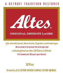 (12pk cans)-Altes Original Detroit Lager Beer, Michigan, USA (12oz)