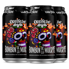 (4pk cans)-Oddside Ales Bombon De La Muerte Bourbon Barrel Aged Imperial Stout Beer, Michigan, USA (12oz)