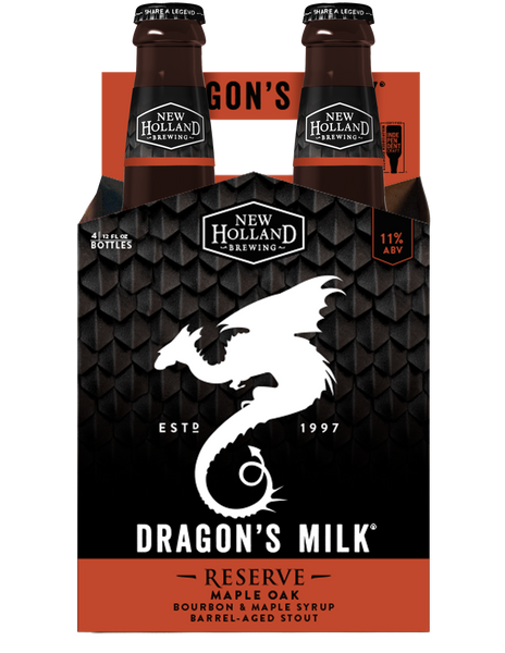 4pk-New Holland Brewing Dragon's Milk Reserve Maple Oak Bourbon Barrel Aged Stout Beer, Michigan, USA (12oz)