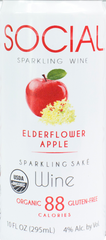 Social Sparkling Wine Elderflower Apple Sparkling Sake, USA (6 x 4pk case, 10fl oz)