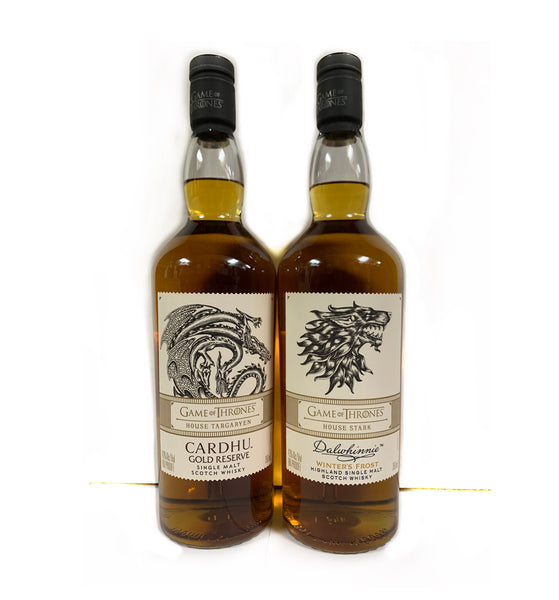 2pk-Game of Thrones Scotch Collection Dalwhinnie's House Stark & Cardhu's House Targaryen (750ml's)