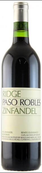 2017 Ridge Vineyards Paso Robles Zinfandel, Benito Duis Ranch, USA (750ml)