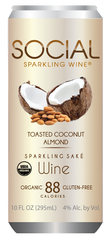 Social Sparkling Wine Toasted Coconut Almond Sparkling Sake, USA (6 x 4pk case, 10fl oz)