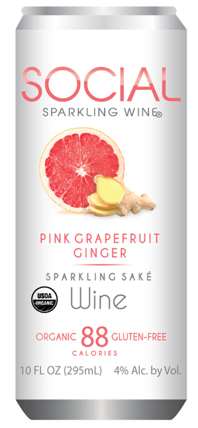 Social Enjoyments Pink Grapefruit Ginger Sparkling Sake, USA (10 fl oz)