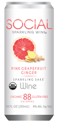 Social Enjoyments Pink Grapefruit Ginger Sparkling Sake, USA (6 x 4pk case, 10fl oz)
