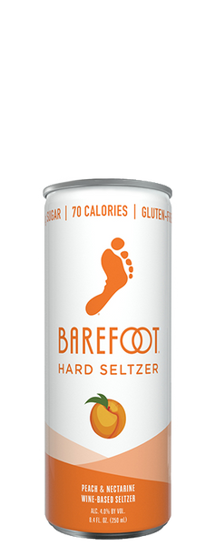 (4pk Cans) Barefoot Cellars Peach & Nectarine Hard Seltzer, California, USA (250ml)