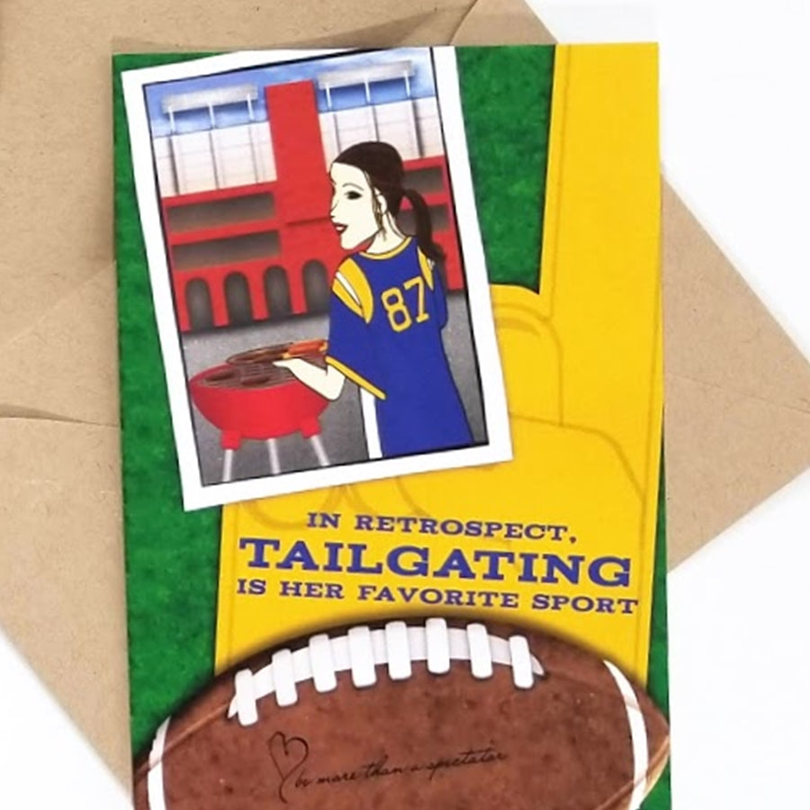 The My Heart Beats Tailgate greeting card is the perfect card to use for an invitation or thank you for a tailgate or football game.