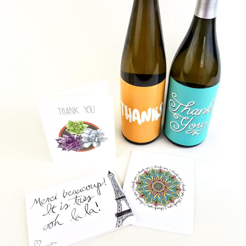Thank your support system of your direct sales business with a thank you card or a thank you bottle of wine.