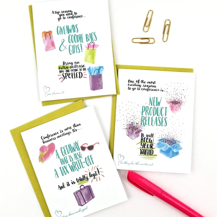 Going to your direct sales conference will help grow your business. My Heart Beats has a collection of greeting cards to encourage your team to register for conference.