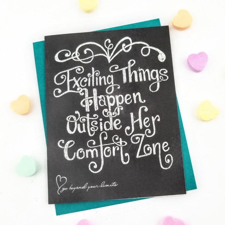 direct sales business growth, Picture of a greeting card that says exciting things happen outside her comfort zone.