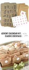My Heart Beats Advent Calendar Kit: Classic Cocktails. Put together an Advent calendar with 25 different cocktail recipes.