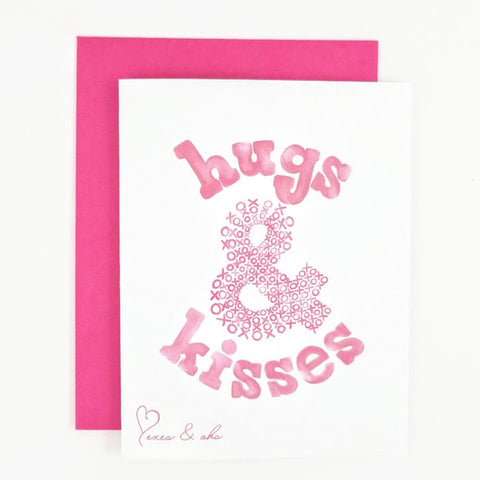 Hugs and Kisses greeting card for Valentine's Day and Galentine's Day