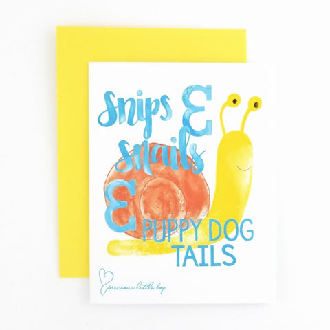 Snips & Snails Greeting Card. Part of the Ampersand Collection.
