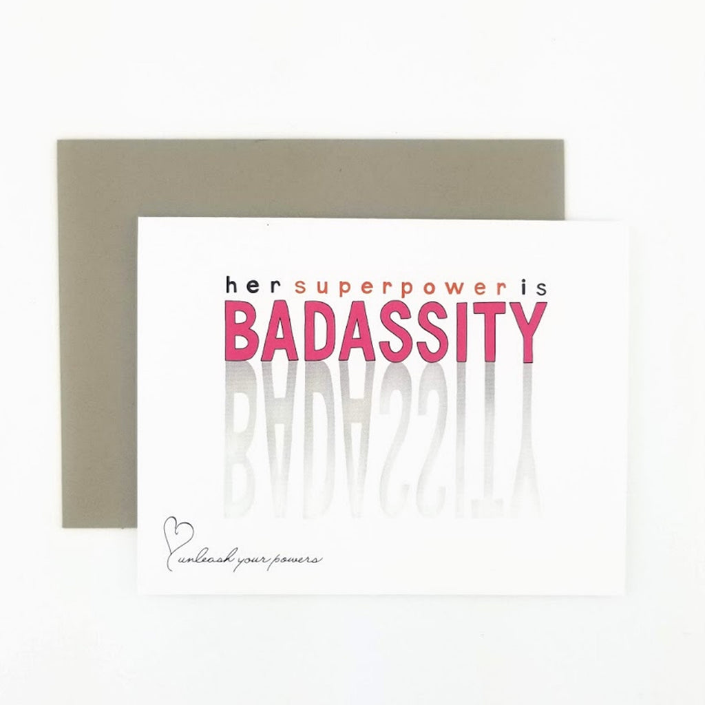 Her Superpower is Badassity greeting card
