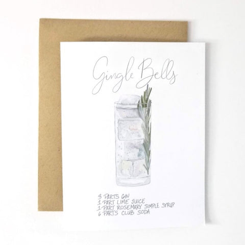 My Heart Beats Holiday Cocktail Recipe Greeting Card - Gingle Bells Christmas Card