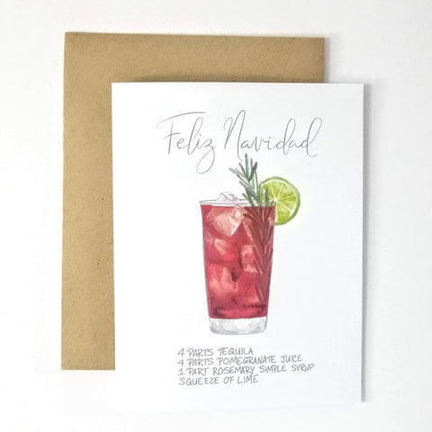My Heart Beats Holiday Cocktail Recipe Greeting Card - Feliz Navidad Christmas Card