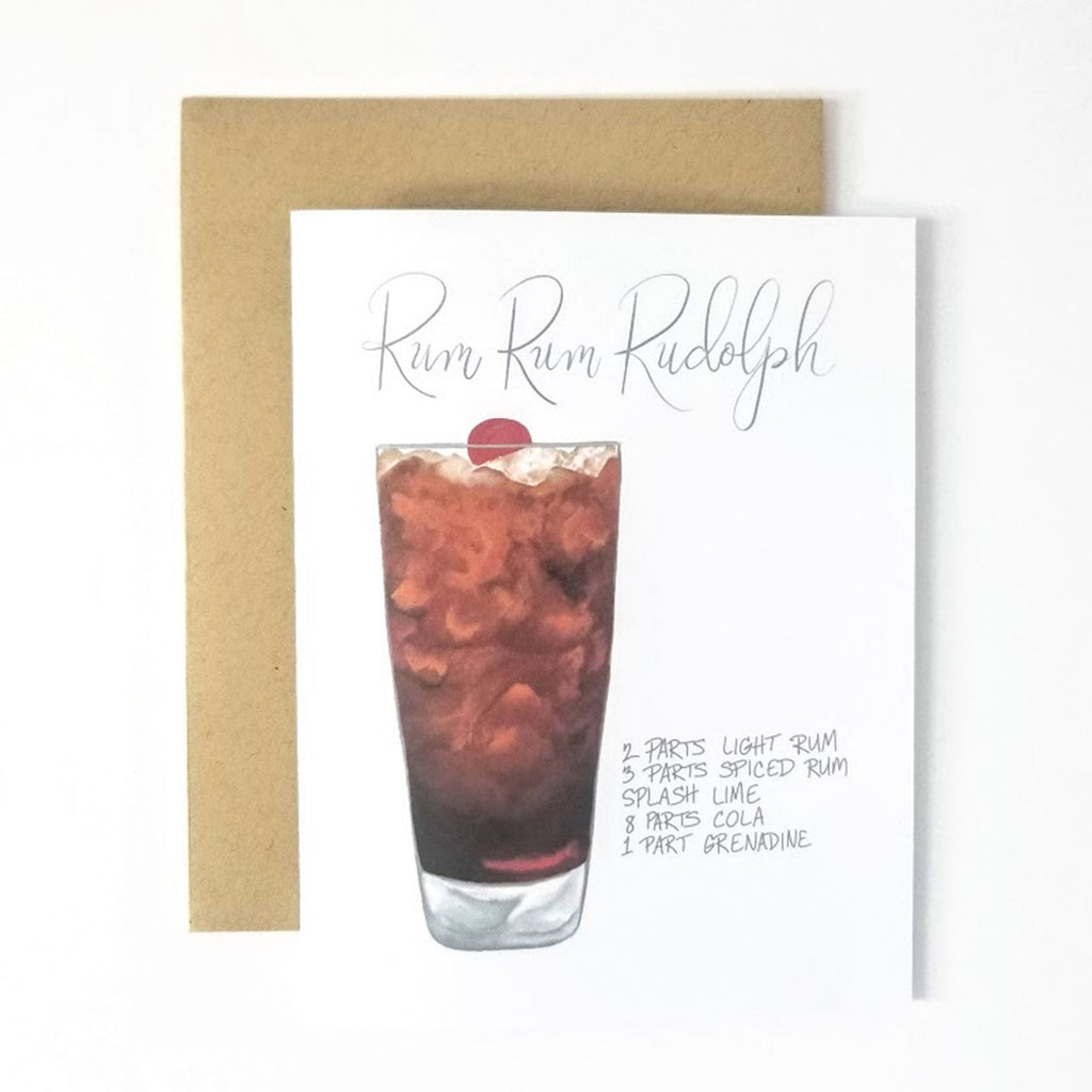 My Heart Beats Holiday Cocktail Recipe Greeting Card - Rum Rum Rudolph Christmas Card