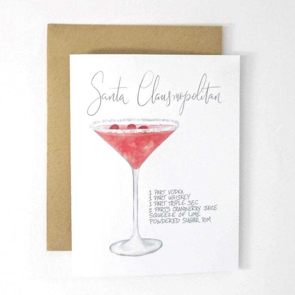 My Heart Beats Holiday Cocktail Recipe Greeting Card - Santa Clausmopolitan Christmas Card