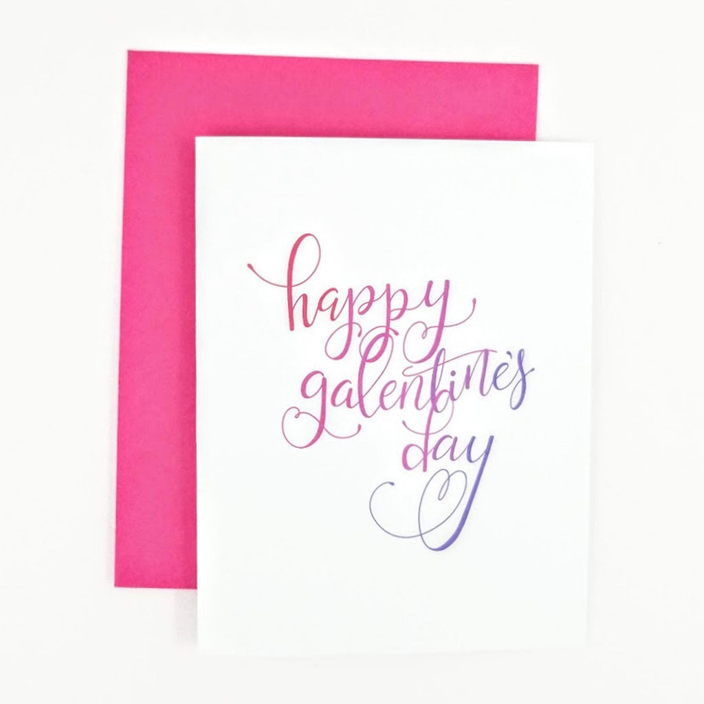 Happy Galentine's Day Calligraphy greeting card.