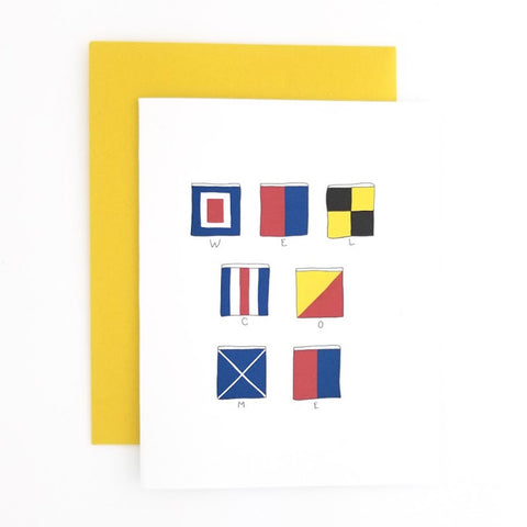 Happy Mail Nautical Flag Welcome