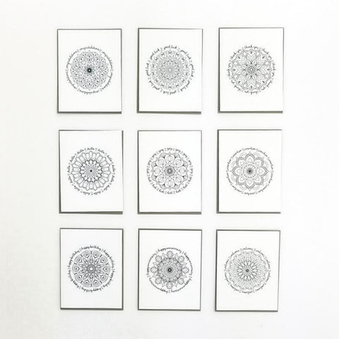 Happy Mail Black & White Mandala Collection