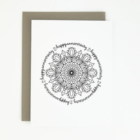 Happy Mail Black & White Mandala Anniversary