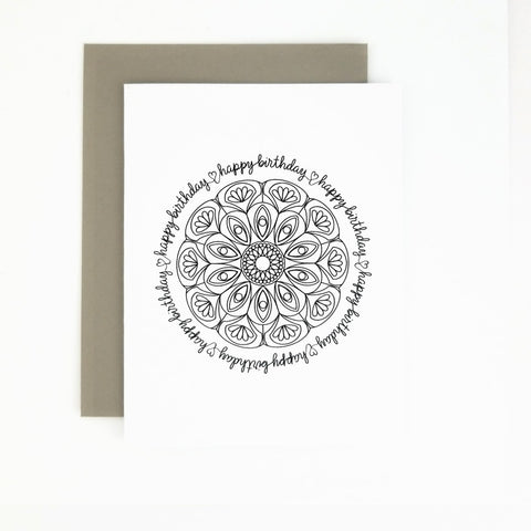 Happy Mail Black & White Mandala Birthday