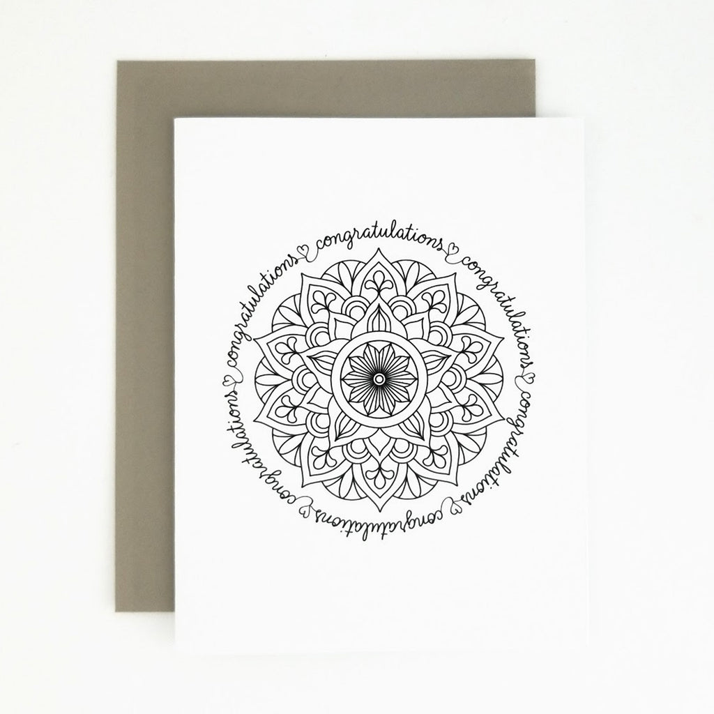 Happy Mail Black & White Mandala Congratulations
