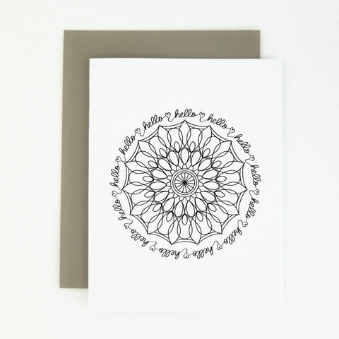 Happy Mail Black & White Mandala Hello
