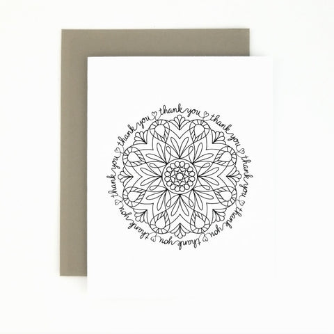 Happy Mail Black & White Mandala Thank You