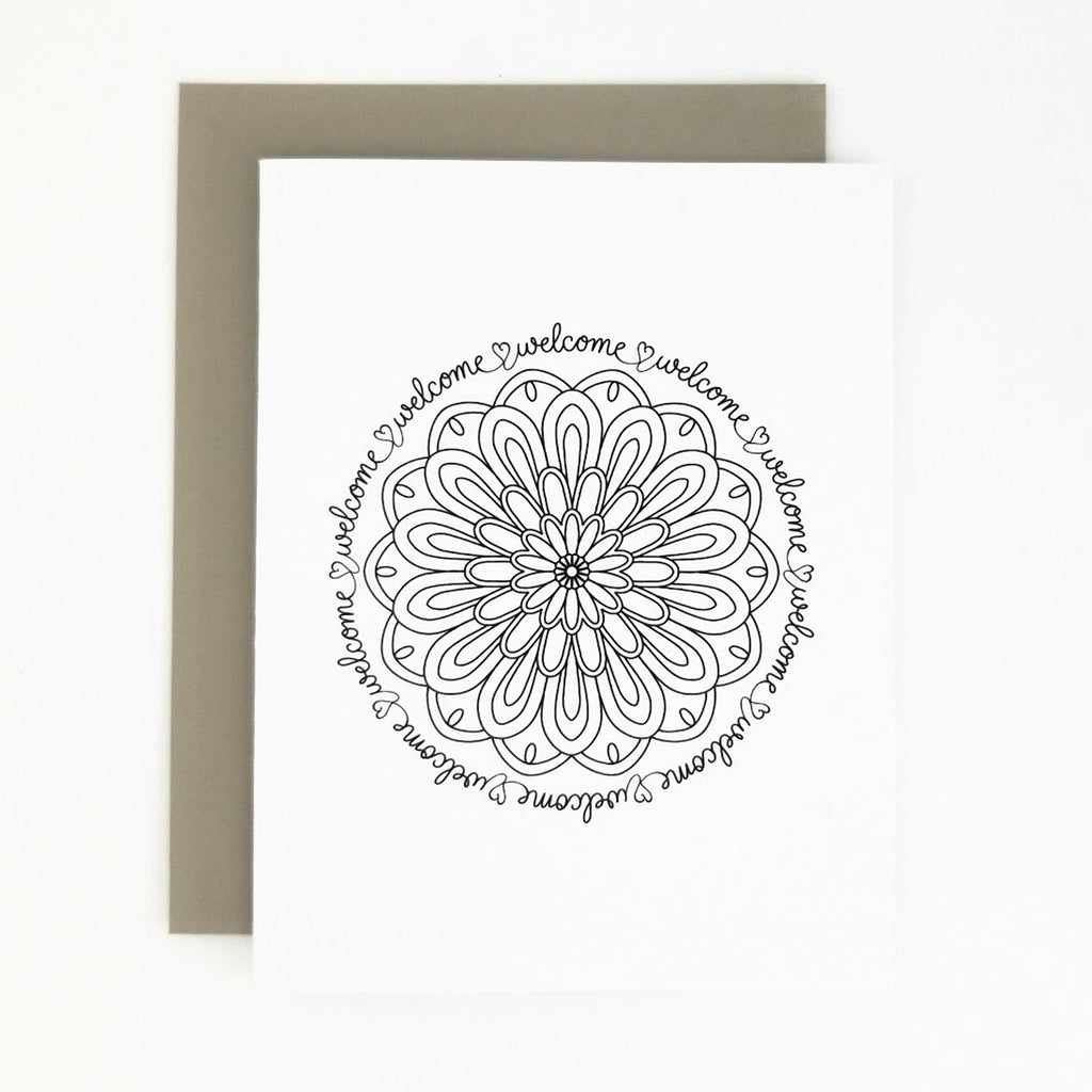 Happy Mail Black & White Mandala Welcome
