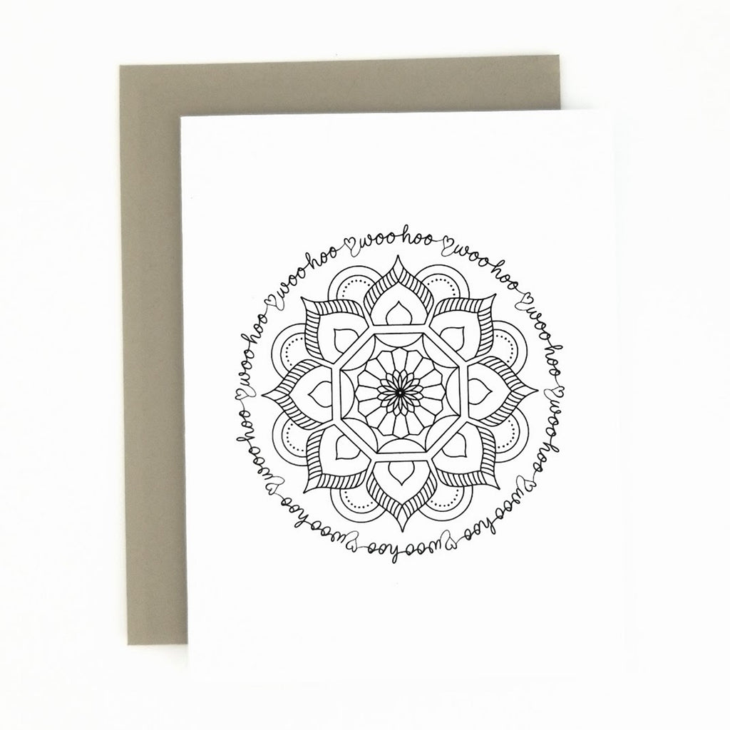 Happy Mail Black & White Mandala Woo Hoo