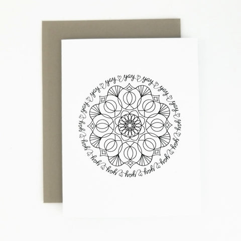 Happy Mail Black & White Mandala Yay