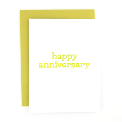 Happy Mail Anniversary Greeting Card with lowercase watercolor hand lettering.