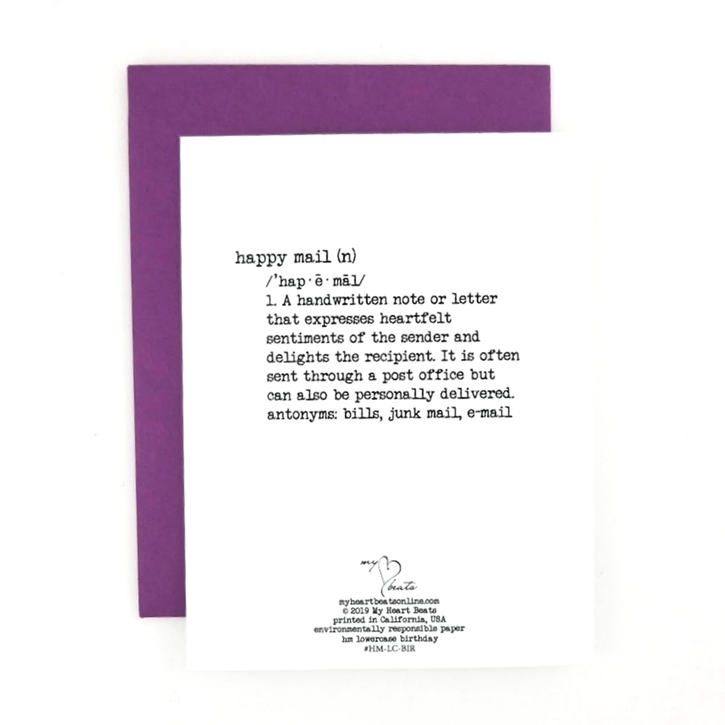 Happy Mail Birthday Greeting Card With Lowercase Watercolor Hand Lettering