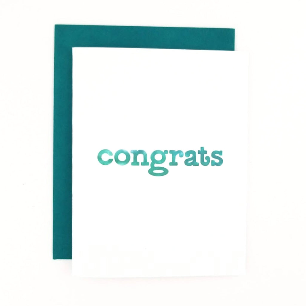 Happy Mail Congratulations Greeting Card with hand-lettered lowercase watercolor lettering.