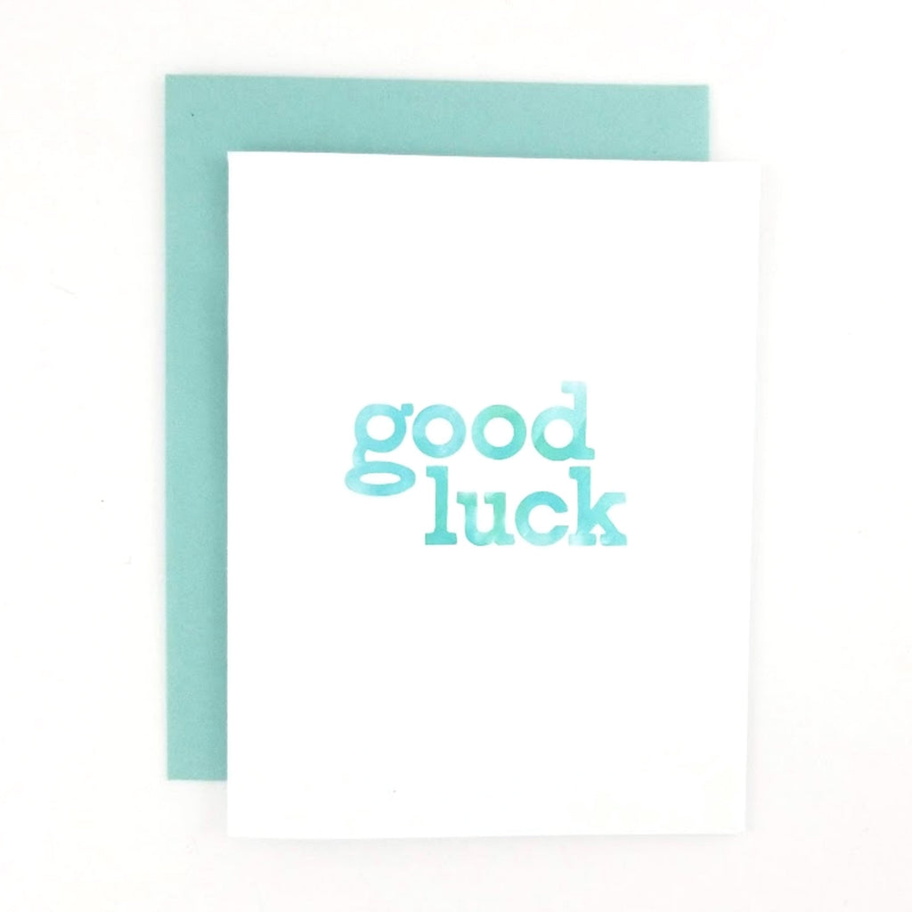 Happy Mail Good Luck Greeting Card with a hand-lettered lowercase design on the front.