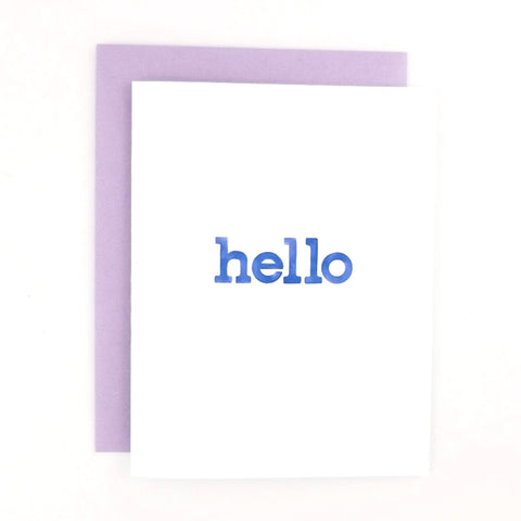 Happy Mail Hello Greeting Card with lowercase watercolor hand-lettered font.