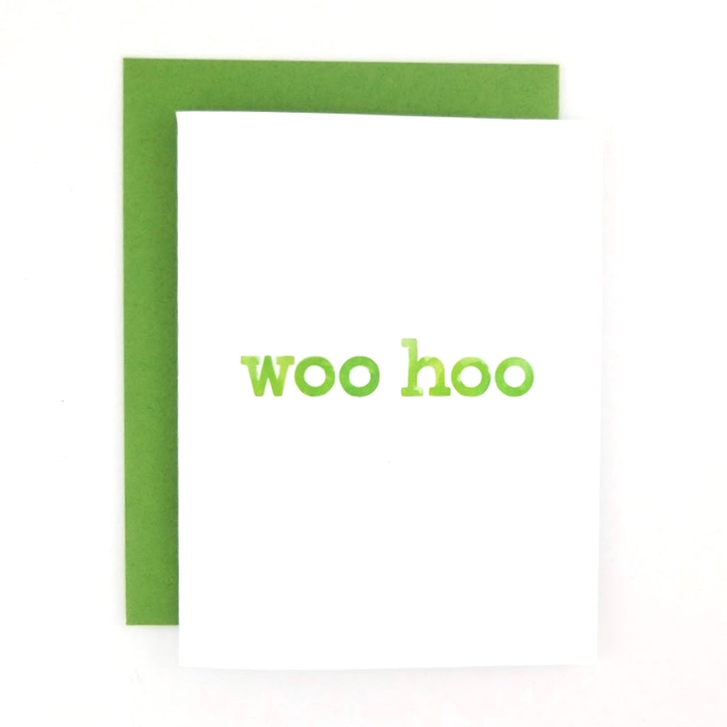 Happy Mail Woo Hoo Greeting Card with hand-lettered lowercase watercolor design.