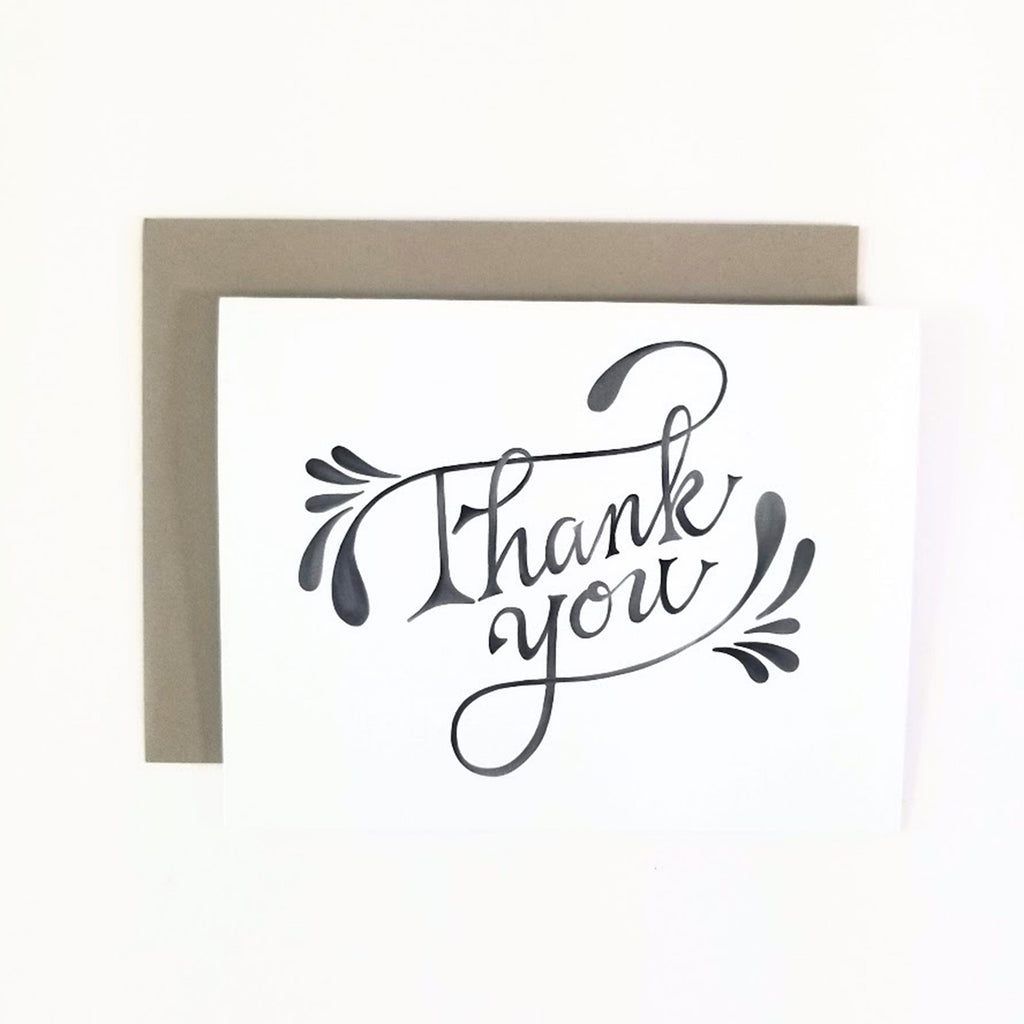 Happy Mail Swirl Thank You Greeting Card