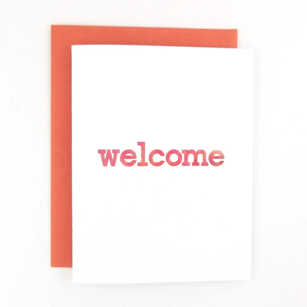 Happy Mail Welcome Greeting Card with watercolor hand-lettered lowercase font.