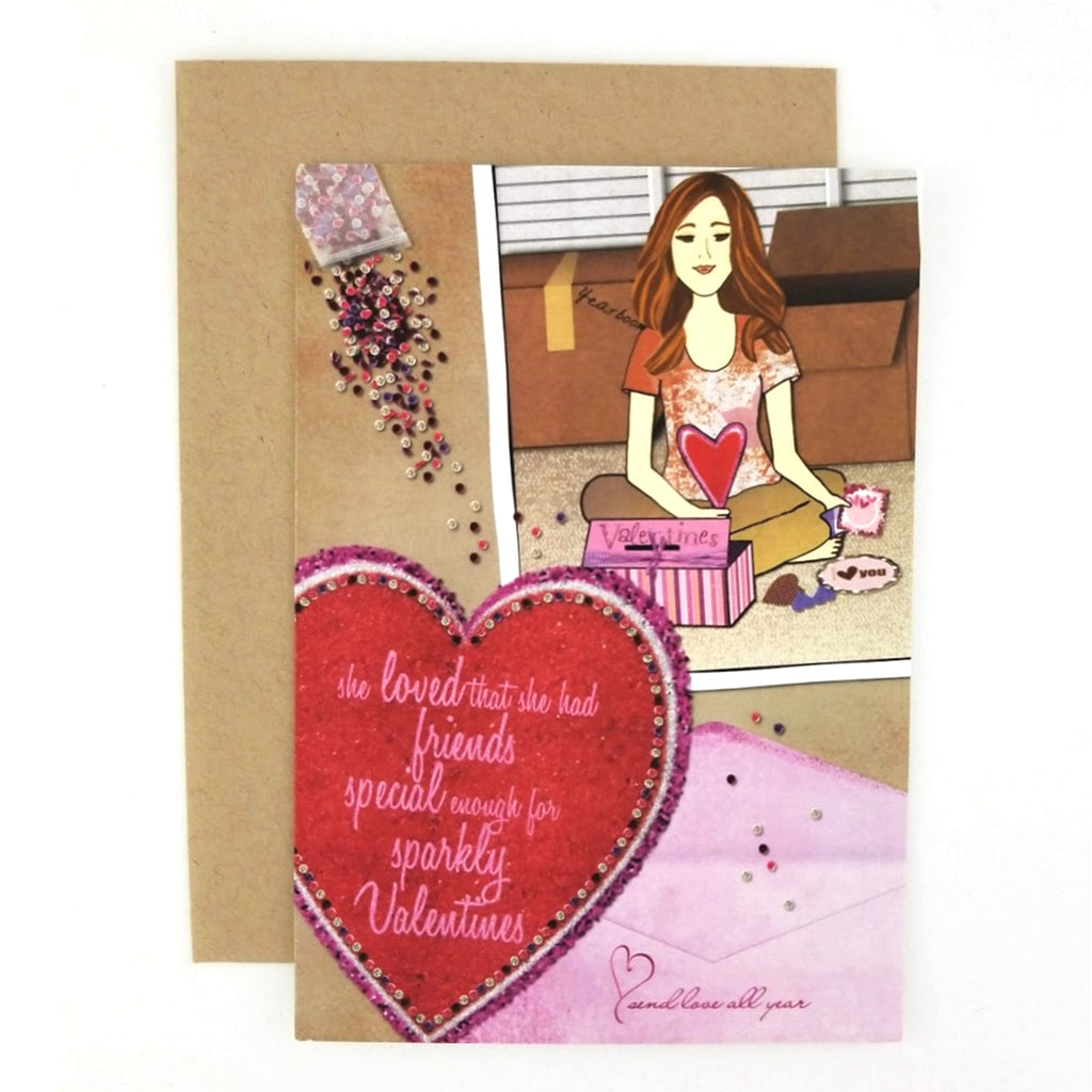 She loved that she had friends special enough for sparkly Valentine's greeting card.