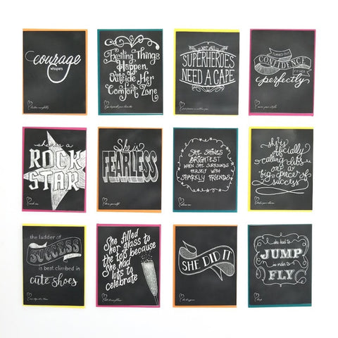 The She is . . . Collection. Set of 12 cards. Hand-lettered chalkboard art design on the front, blank inside and story on the back.