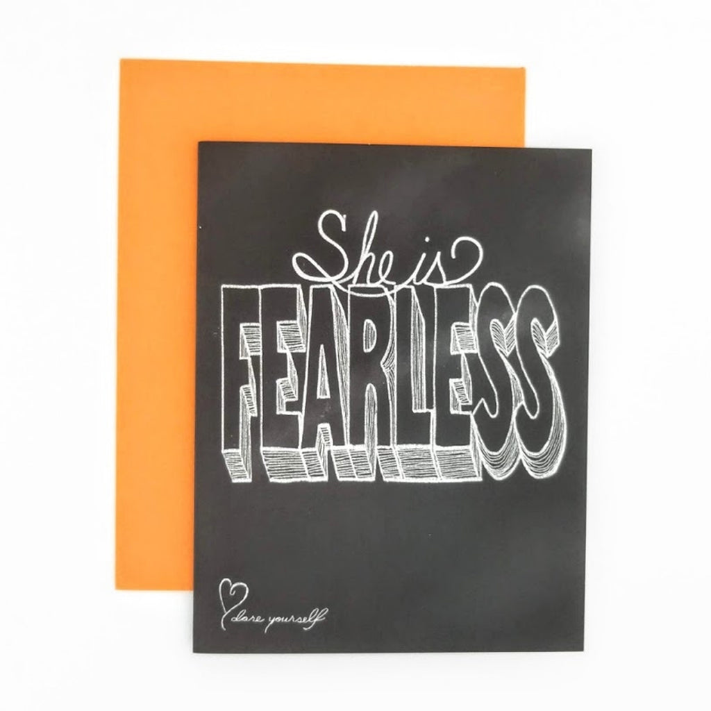 She is Fearless Greeting Card. Hand-lettered chalkboard art design on the front, blank inside and story on the back. greeting card.